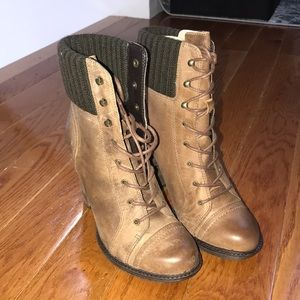 Lace up Leather Booties
